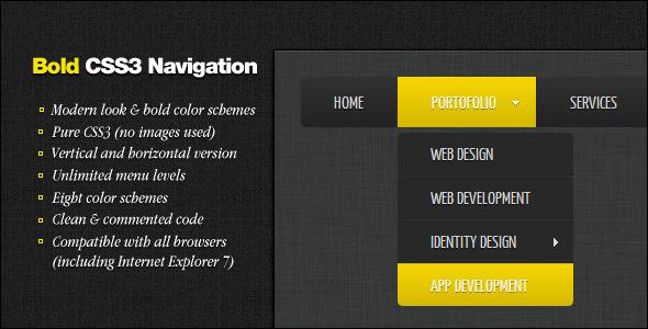Bold CSS3 Navigation - CodeCanyon Item for Sale