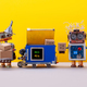 Two happy robots received parcels cardboard boxes - PhotoDune Item for Sale