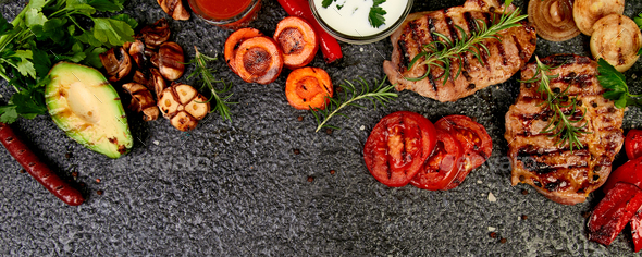 Banner with Steak pork grill with a variety of grilled vegetables - Stock Photo - Images