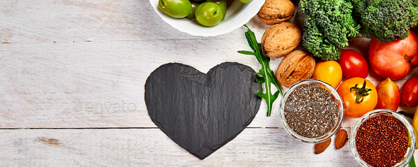 Banner with Background healthy food for heart. Healthy food, diet and life. - Stock Photo - Images