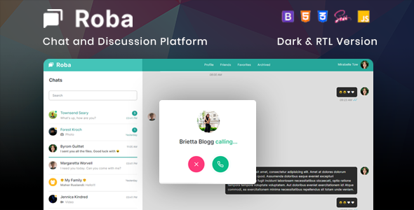Roba - Chat and Discussion Platform HTML5 Template
