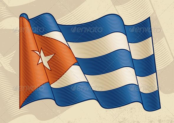 Vintage Cuban Flag - Objects Vectors