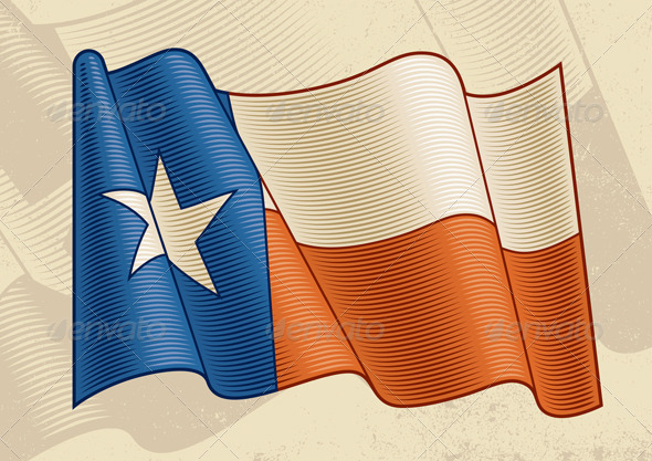 Vintage Texas Flag - Objects Vectors