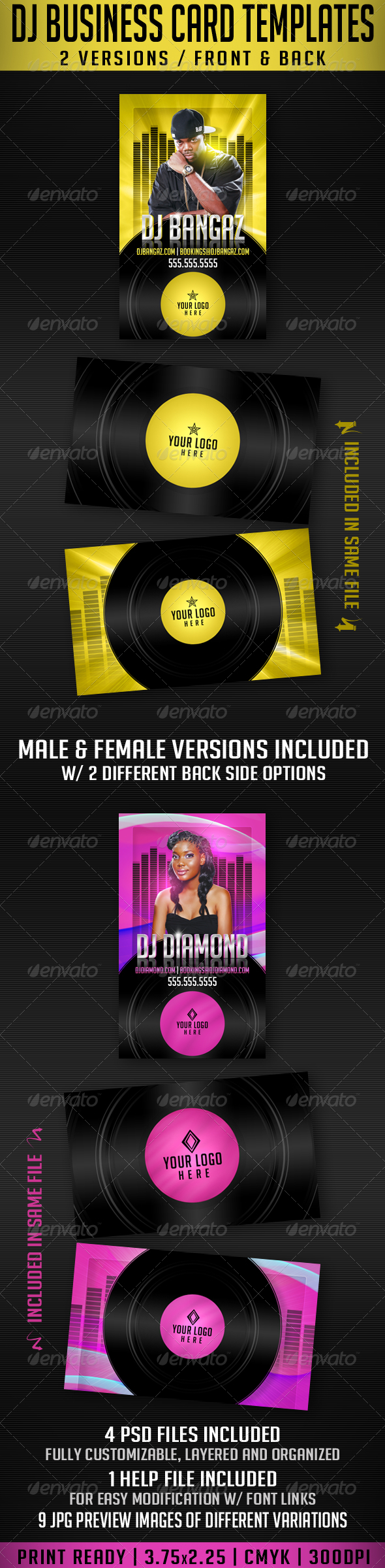 DJ Business Card Templates - Industry Specific Business Cards