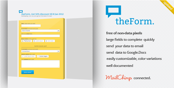 Free Download theForm HTML Sign up / Subscribe / Survey Landing Nulled Latest Version