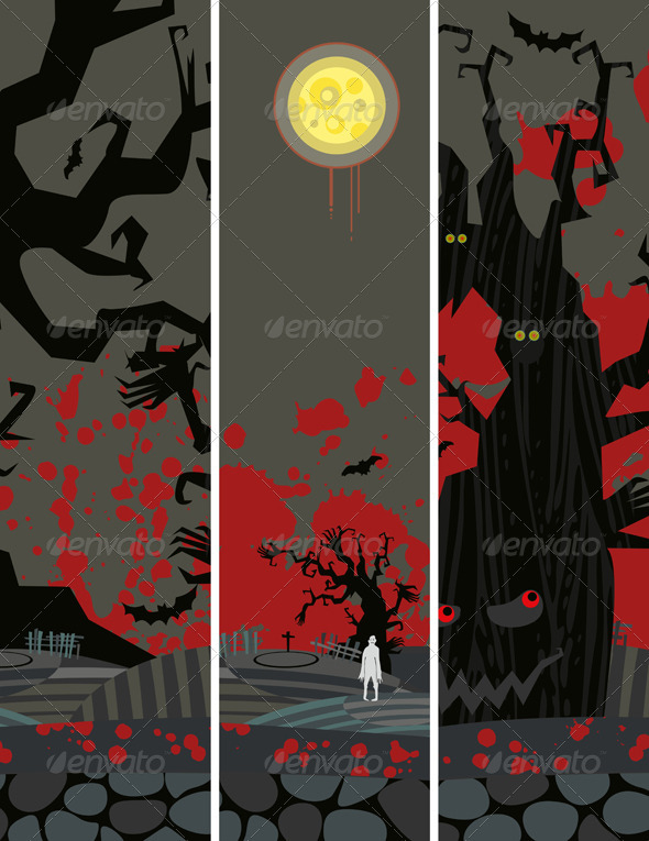 Halloween Banner Set Vertical - Backgrounds Decorative