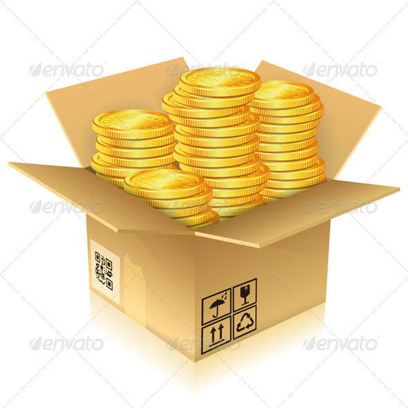 Cardboard Box with Gold Coins - Concepts Business