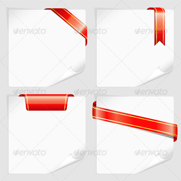 Set White Sheets Paper with Ribbons - Concepts Business