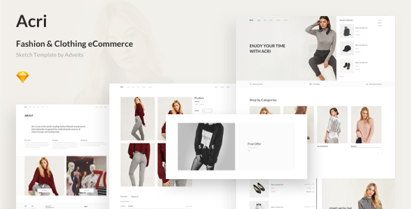 Acri - Fashion & Clothing eCommerce Sketch Template by adveits