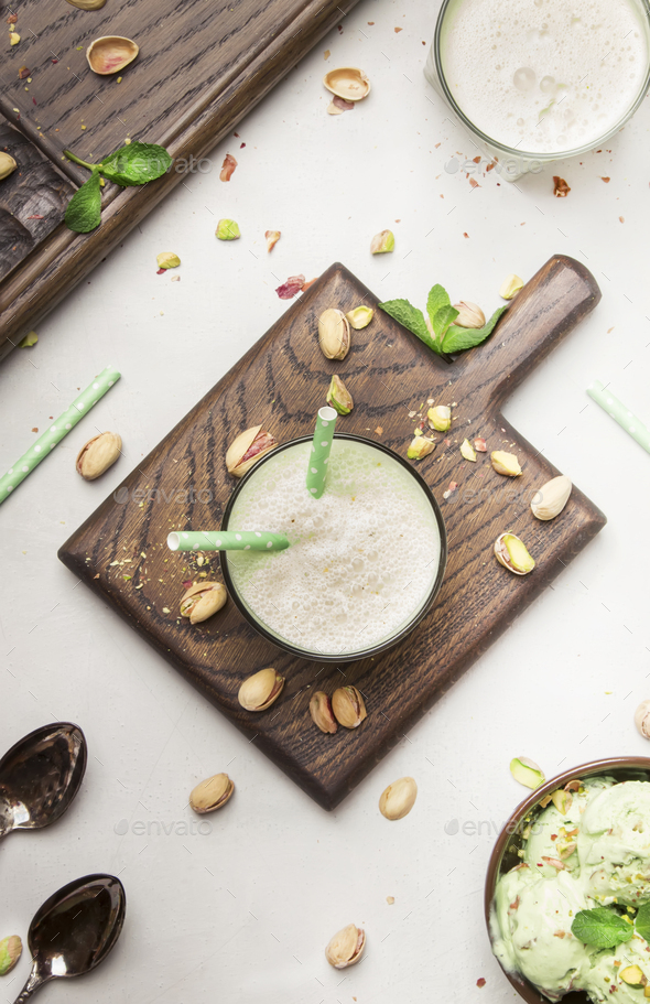 Pistachio cocktail with milk and mint, - Stock Photo - Images