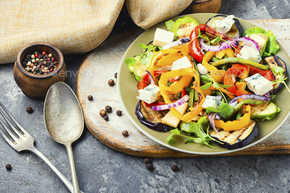 Grilled vegetables salad on plate - Stock Photo - Images