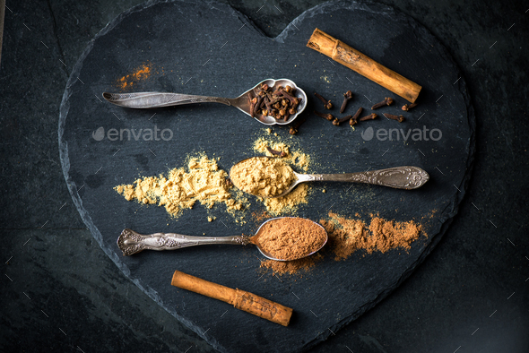 Spices for Christmas Gingerbread Cookies in Spoons - Stock Photo - Images