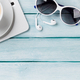 Desk table with laptop, coffee and sunglasses - PhotoDune Item for Sale