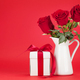 Valentines day card with gift box and rose flowers - PhotoDune Item for Sale
