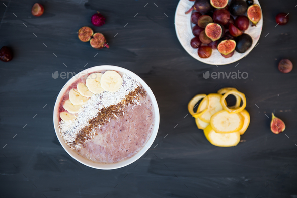 Healthy Banana and Strawberries  Smoothie in the Bowl - Stock Photo - Images