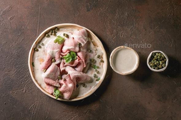 Vitello tonnato sliced veal - Stock Photo - Images