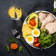 Keto diet plate on black stone table - PhotoDune Item for Sale