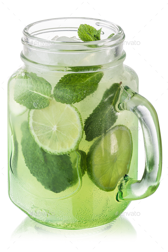 Mojito cocktail jar, paths - Stock Photo - Images