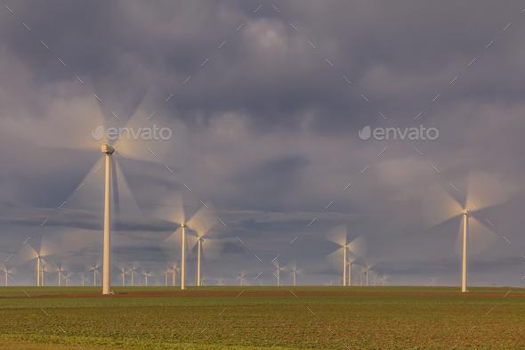 wind power turbines in  Dobrogea, Romania - Stock Photo - Images