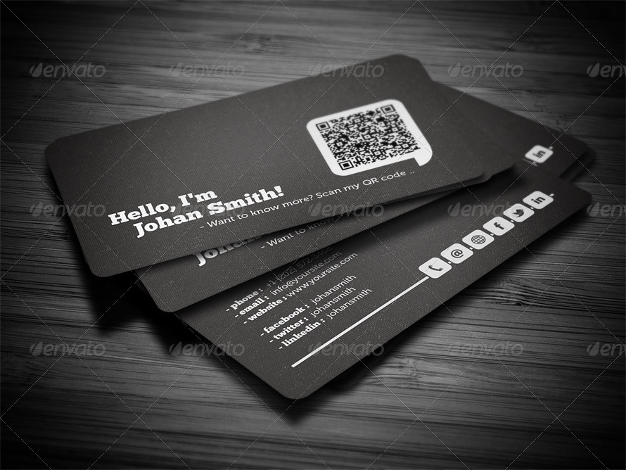 Social qr code business card by flowpixels graphicriver social qr code business card creative business cards screenshots01black1g flashek Images