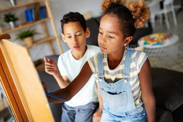Concept of early childhood education, painting, talent, happy kids - Stock Photo - Images