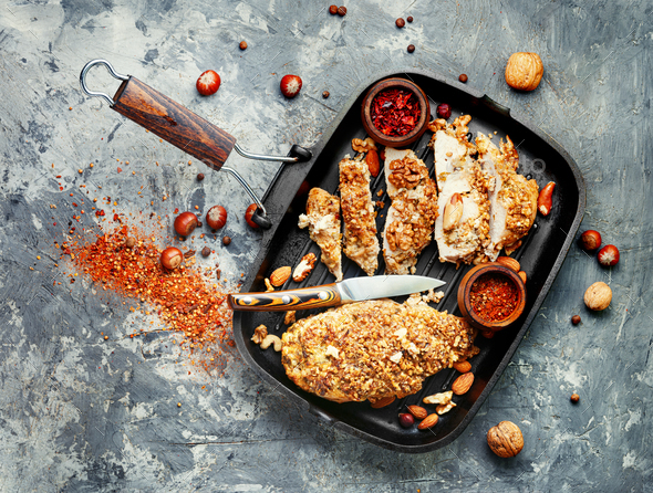 Stuffed chicken breast with nuts. - Stock Photo - Images