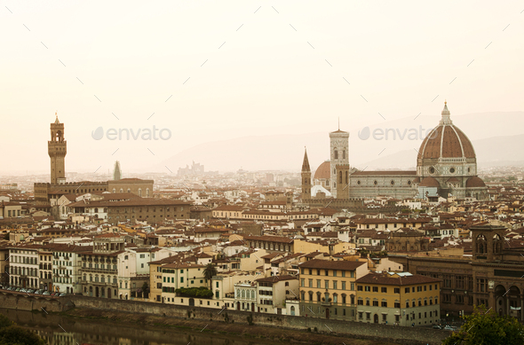 Golden sunset of Florence, Italy. - Stock Photo - Images