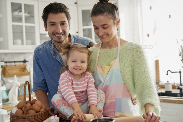 Happy family in Easter time - Stock Photo - Images