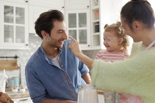 Happy family enjoy cooking together - Stock Photo - Images