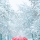Woman under red umbrella walking in winter snow - PhotoDune Item for Sale