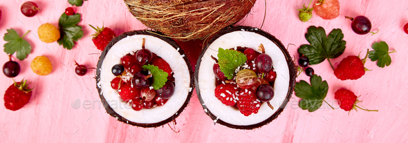 Banner with Fruit salad agrus, gooseberry, rasbberry in coconut shell bowl - Stock Photo - Images