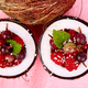 Banner with Fruit salad agrus, gooseberry, rasbberry in coconut shell bowl - PhotoDune Item for Sale