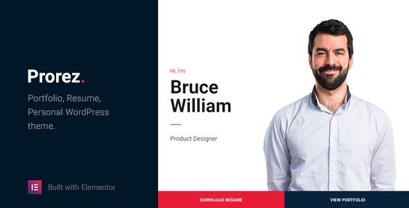 Prorez - One Page Resume WordPress Theme