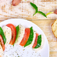 Banner with Italian caprese salad with sliced tomatoes, mozzarella cheese, basil, olive oil. - PhotoDune Item for Sale