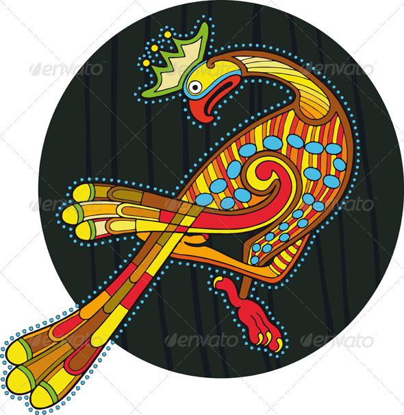 Motley Ornamental Bird Circle Isolated - Animals Characters