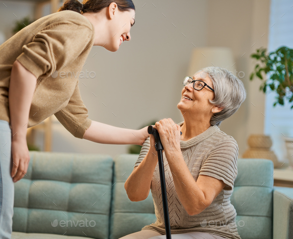 Happy patient and caregiver - Stock Photo - Images