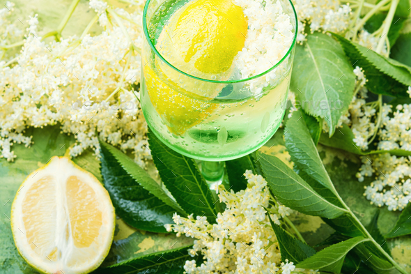 Elderberry flowers on a wooden table - Stock Photo - Images