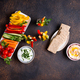Healthy snacks. Vegetables and hummus - PhotoDune Item for Sale