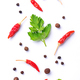 Parsley, red chili and black pepper on white - PhotoDune Item for Sale