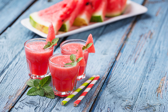 Glasses of watermelon smoothie with mint - Stock Photo - Images
