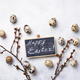 Easter background with quail eggs and pussy willow - PhotoDune Item for Sale