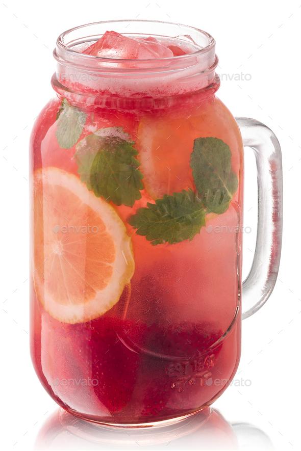 Strawberry mint lemonade jar, paths - Stock Photo - Images