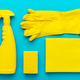 Flat Lay Image Of Yellow Cleaning Products In Order - PhotoDune Item for Sale