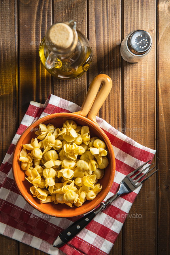 Italian stuffed pasta. Sacchettini pasta. - Stock Photo - Images