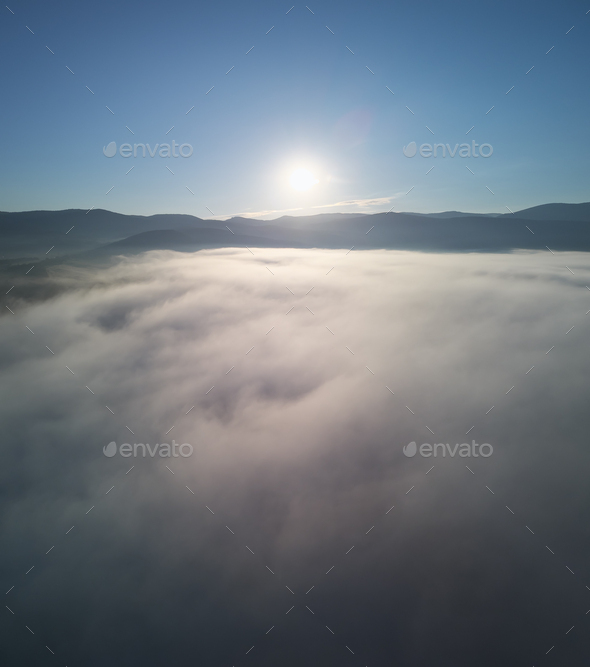 Morning fog in the mountains. - Stock Photo - Images