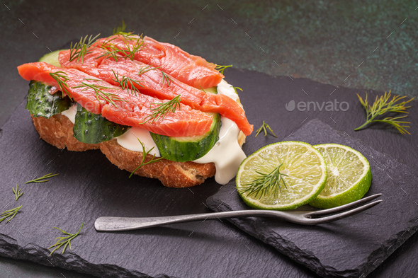 Salted salmon sandwich - Stock Photo - Images