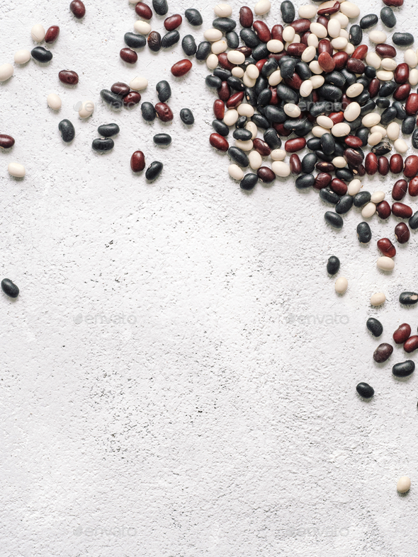 Top view of raw mixed beans with copyspace - Stock Photo - Images