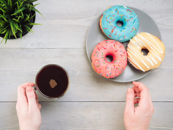 donuts on blue background , copy space, top view - Stock Photo - Images