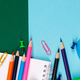Banner of School or office stationery on colorful background. Back to School. - PhotoDune Item for Sale