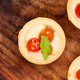 Banner of Mini tarts with cherry tomatoes with mozzarella cheese - PhotoDune Item for Sale